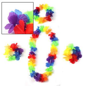 4Pcs-set-Hawaiian-Flower-Necklace-Leis-Headband-Garland-Beach-Hula-Fancy-Dress