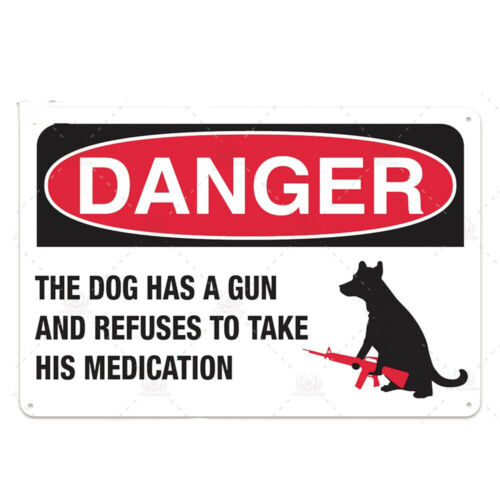 Warning Dogs Metal Tin Signs Beware Of Dog May Bite Funny Poster Art Wall Plaque