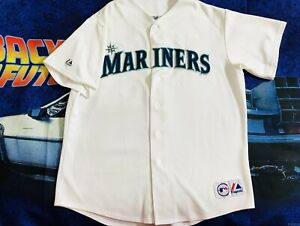 c9a280c76 Image is loading Majestic-Seattle-Mariners-Euc-White-Home-Jersey-Sewn-