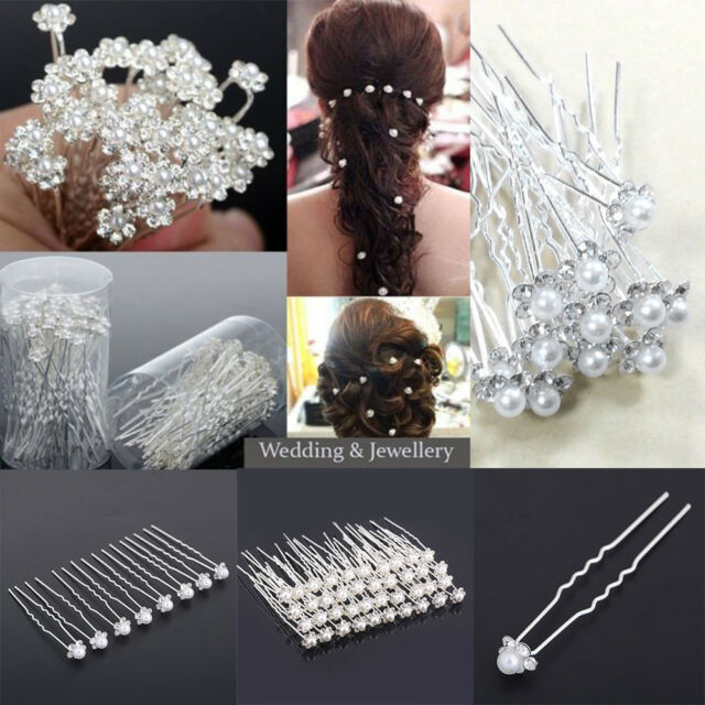 Wedding Party Accessories Crystal Diamante Pearls bridal Flower Hair Pin Clips