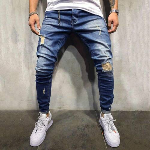 Men Ripped Jeans Pants Skinny Slim Fit Casual Frayed Distressed Denim Trousers