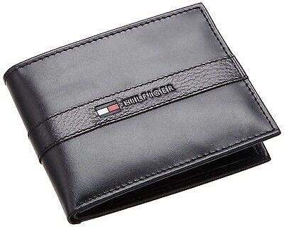 New Tommy Hilfiger Men's Ranger Leather Passcase Bifold Billfold Wallet - Black