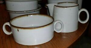 Dansk-Mid-Century-Brown-Mist-Sugar-Bowl-and-Creamer-No-Lid-Niels-Refsgaard