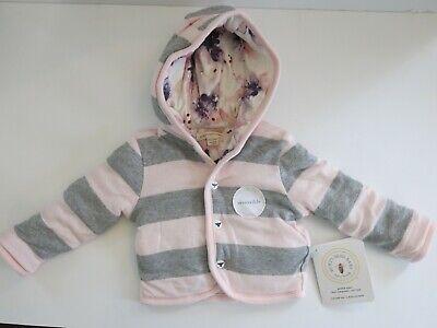 Burt/'s Bees Baby Girl Hooded Reversible Jacket ~ Pink /& Gray ~