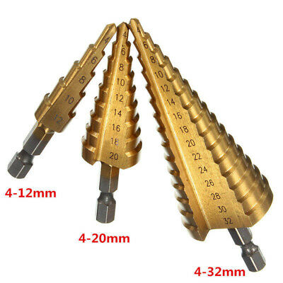 New HSS Step Cone Drill Titanium Coated Metal Hole Cutter Bit 3 Sizes For Choose