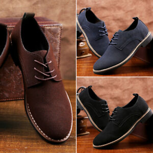Men-039-s-Oxfords-Suede-Leather-Dress-Shoes-Lace-Up-Casual-Flats-Business-Work-Shoes