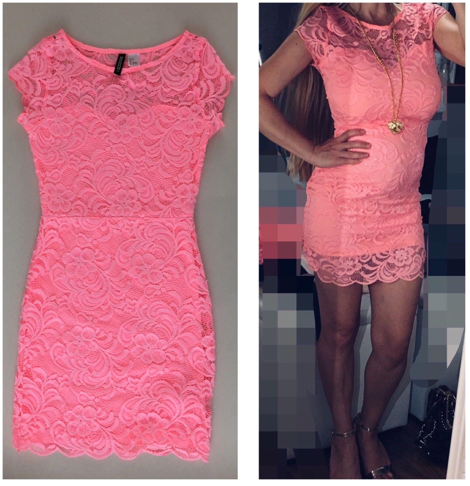 NEU H&M Kleid Top Minikleid Kleid aus Spitze Häkel Neon Rosa Rosa Gr. XS 34