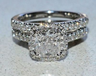 Certified 2 50ct Cushion Cut Diamond Halo Bridal