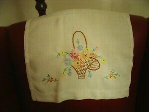Vintage-Chair-Back-Covers-x-2-Linen-Embroidered-Basket-of-Flowers