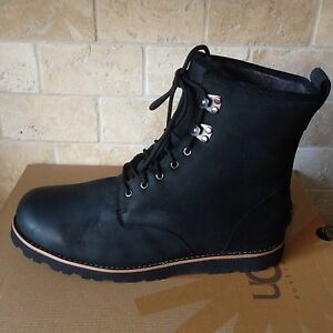 c91e0c8debe Details about UGG HANNEN TL BLACK WATERPROOF LEATHER SHEEPSKIN WORK BOOTS  SHOES SIZE 12 MENS