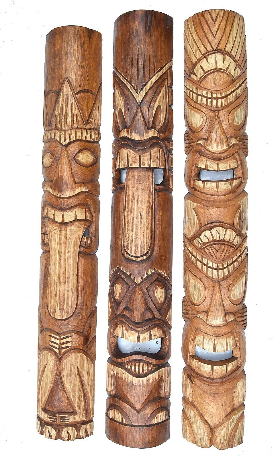 3 Tiki muro maschera 100cm nel Hawaii Style maschera di legno legno Tiki MASCHERA MASCHERE muro Maui