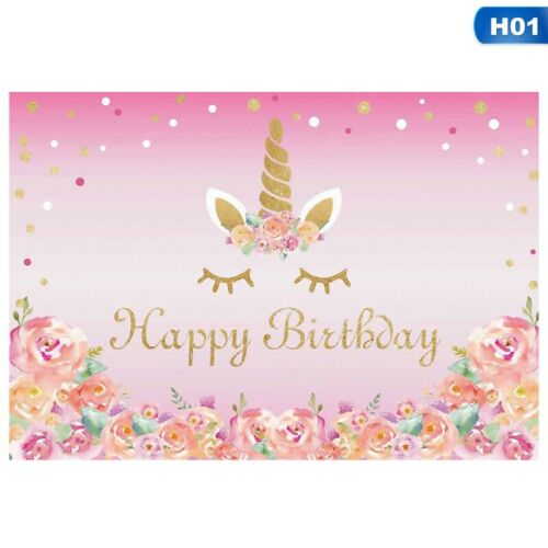 Lots Of 3x5ft Unicorn Flower Photo Birthday Background Backdrops Studio Prop UK`