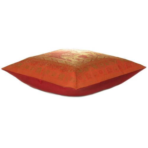 Brocade Elephant Print Cushion Cover Ethnic Silk Blend Sofa Pillow Case Throw 16