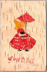 Wood-Bark-Birch-Postcard-Sunbonnet-Girl-Sunday-Vintage-Postcard-I16