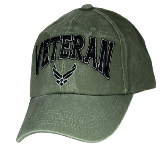 Military US Air Force Veteran Hat Logo Embroidered Mens Cap Olive Drb White  Wash db6f943aed9