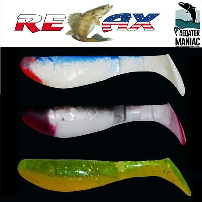"""pack of 3 shads.soft plastic lures perch,pike,zander,bass relax kopyto 2/"""" 5cm"""