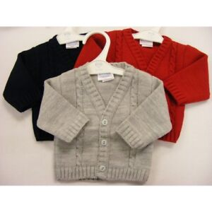 BABY TODDLER  BOYS SMART SPANISH STYLE V NECK CABLE CARDIGAN RED BLUE GREY 3-24m
