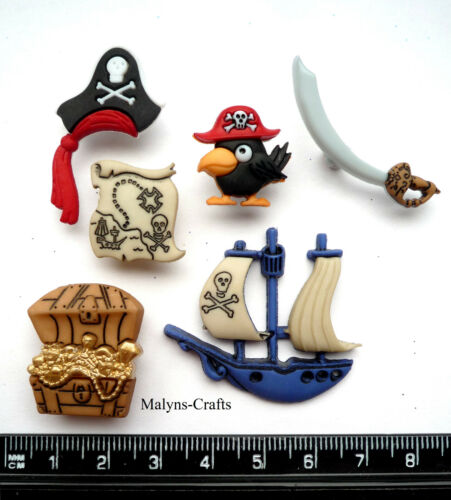 PIRATES Craft Buttons 1ST CLASS POST Boy Toy Ship Treasure Chest Boat Sea Map