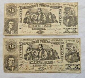 Two-1861-20-Dollar-Bills-VA-Confederate-States-Civil-War-Currency-Paper-Money