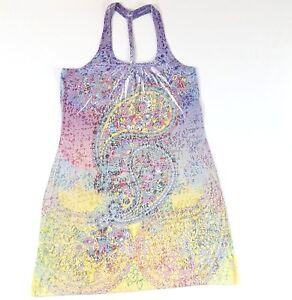 Miken-Womens-Tunic-Dress-Sz-L-Paisley-Burnout-Purple-Pink-Blue-Pattern-Cover-Up