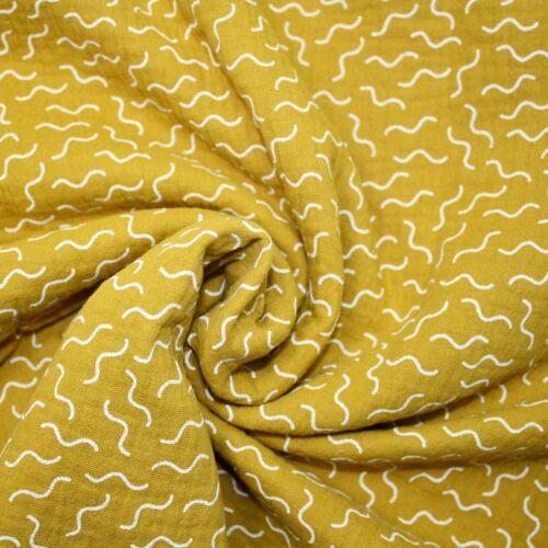 Squiggle 100/% Tela Muselina De Algodón Gasa Doble Costura Confección Vivero