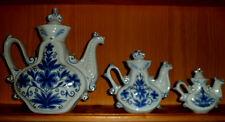 Alte Kaffeekanne Teekanne Porzellan echt Kobalt Blaudekor mit Gold Verz Sammlung