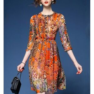 Elegante raffinato abito vestito donna scampanato arancione slim morbido 3472