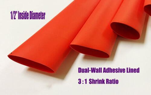"1//2/"" RED Adhesive Glue Lined 3:1 Heat Shrink Tubing 32FT Marine Tuner Motec AEM"