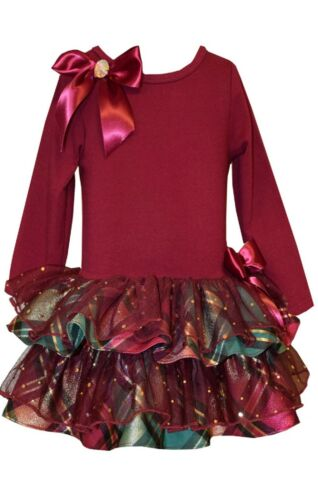 Bonnie Jean  Holiday Party Santa Christmas Bow Plaid Dress Girls  2T 3T 4T
