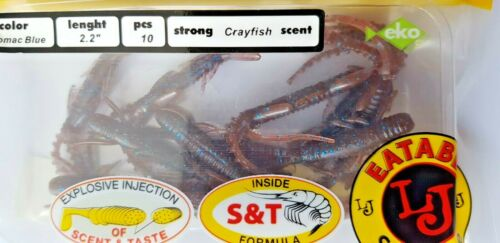 "Lucky John Hogy Shrimp 2.2/"" Lures Bait Strong Scent Soft Salt 10pcs"