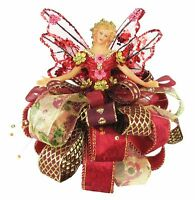 Holiday Angel Christmas Tree Topper Top 7.5 Red Burgundy Gold Ribbon Flower
