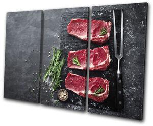 Beef-Raw-Steak-Slate-Chop-Food-Kitchen-TREBLE-CANVAS-WALL-ART-Picture-Print