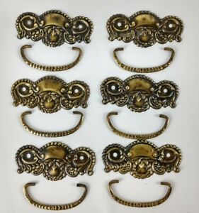 Vintage Drawer Pulls Handles Dresser Thin Brass Plate Metal Lot of 6 Ornate