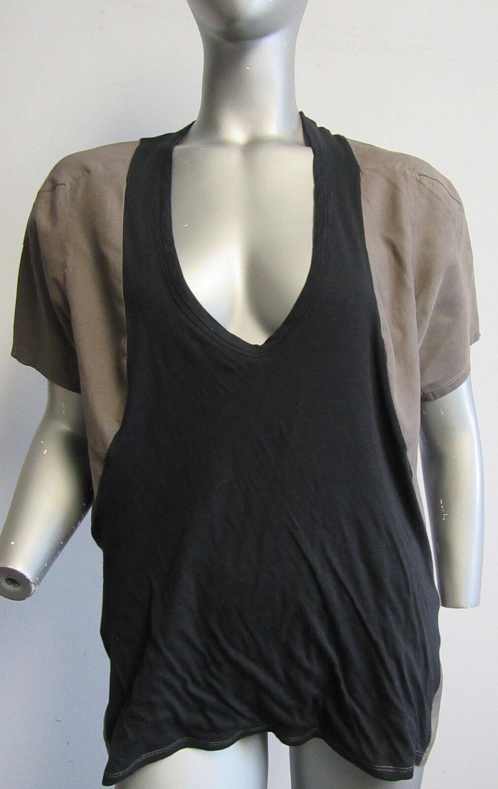 MARNI cotton voile & jersey grau & schwarz  plunging scoop neck top sz 44