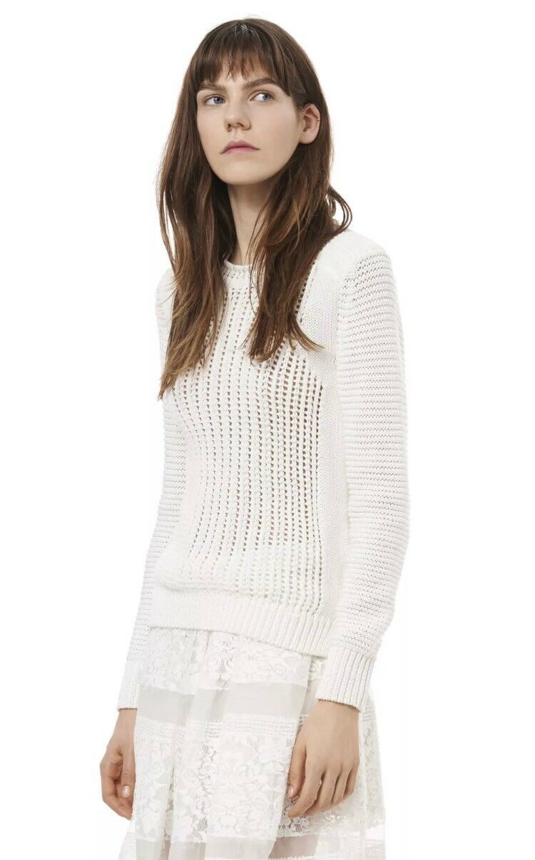 NWT  350 Rebecca Taylor Moto Lattice Sweater, White, Size Small