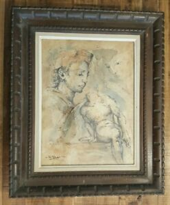 Well-Listed-Artist-WILLIAM-EDWIN-FAGER-Watercolor-On-Board