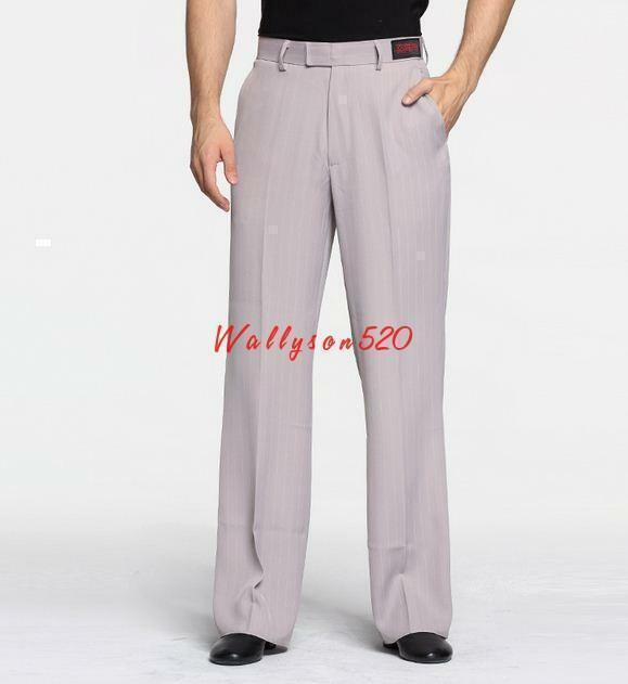 Fashion Mens Loose Fit Casual stripe Latin Moderen Pants Straight Casual Trouser