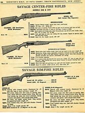 1965 Print Ad of Savage Center Fire Rifles Model 340 & 219 Rim Fire Model 63M