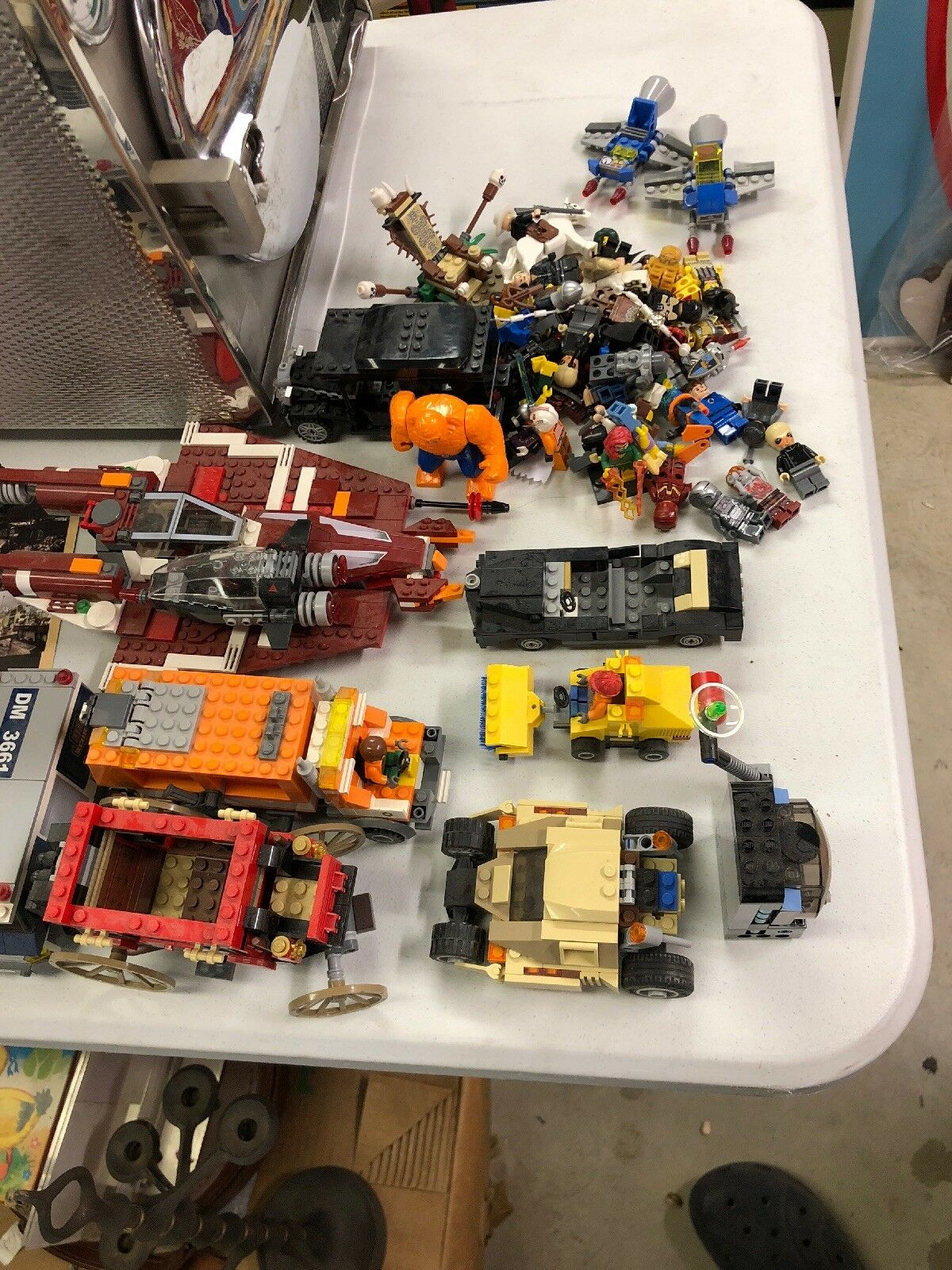 Lot of Partially Assembled LEGO Vehicles and Figures - LOT