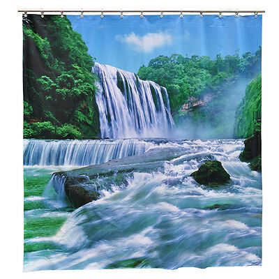 "Nature Scenery Waterfall Shower Curtain PVC Vinyl Waterproof FREE Shipping 72"" L"
