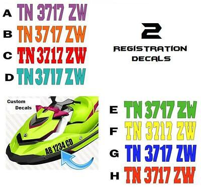 BOAT PWC REGISTRATION NUMBERS ARIAL 2 COLORS BOAT LICENSE,WAVE RUNNER,SEE DOO
