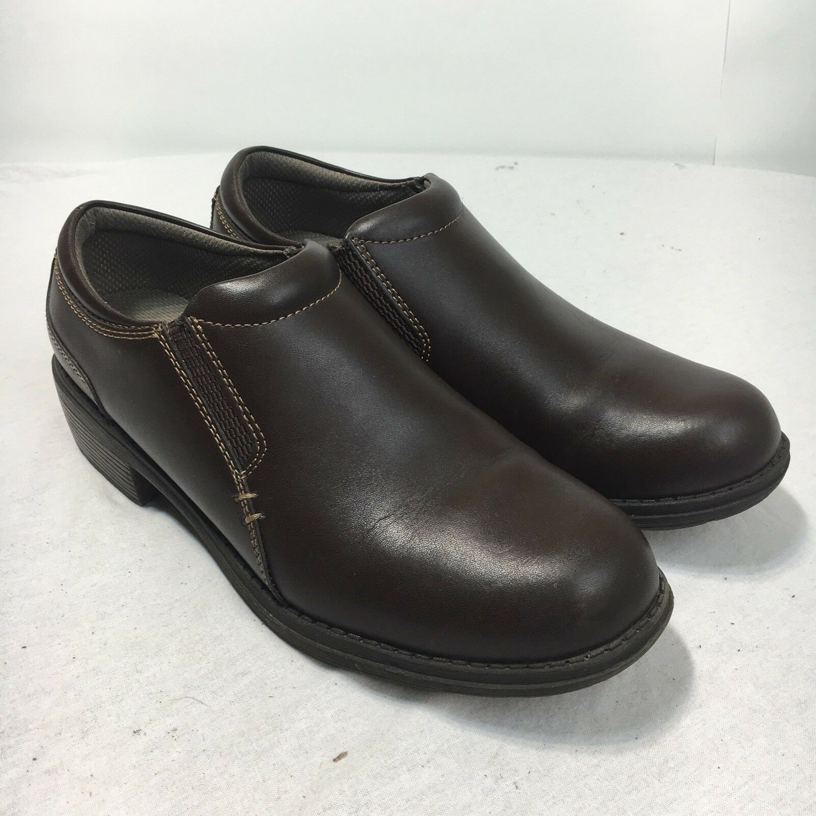 Eastland Double Deal Womens 10 Smooth Brown Leather Slip On Oxford Loafer shoes