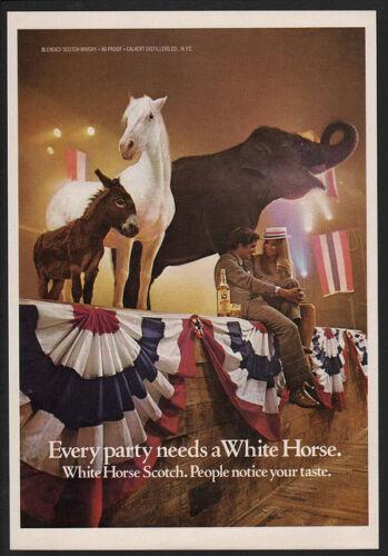 ELEPHANT DEMOCRAT  VINTAGE AD DONKEY 1976 WHITE HORSE Scotch REPUBLICAN