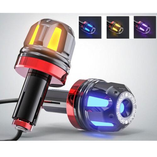 2X Alu Universal Lenker Blinker LED Motorrad Griffe Lampe 13-22mm Gelb Blau