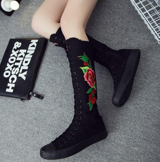 Womens Vogue Floral Embroidered Canvas Lace Up Knee High Boots Plimsolls shoes