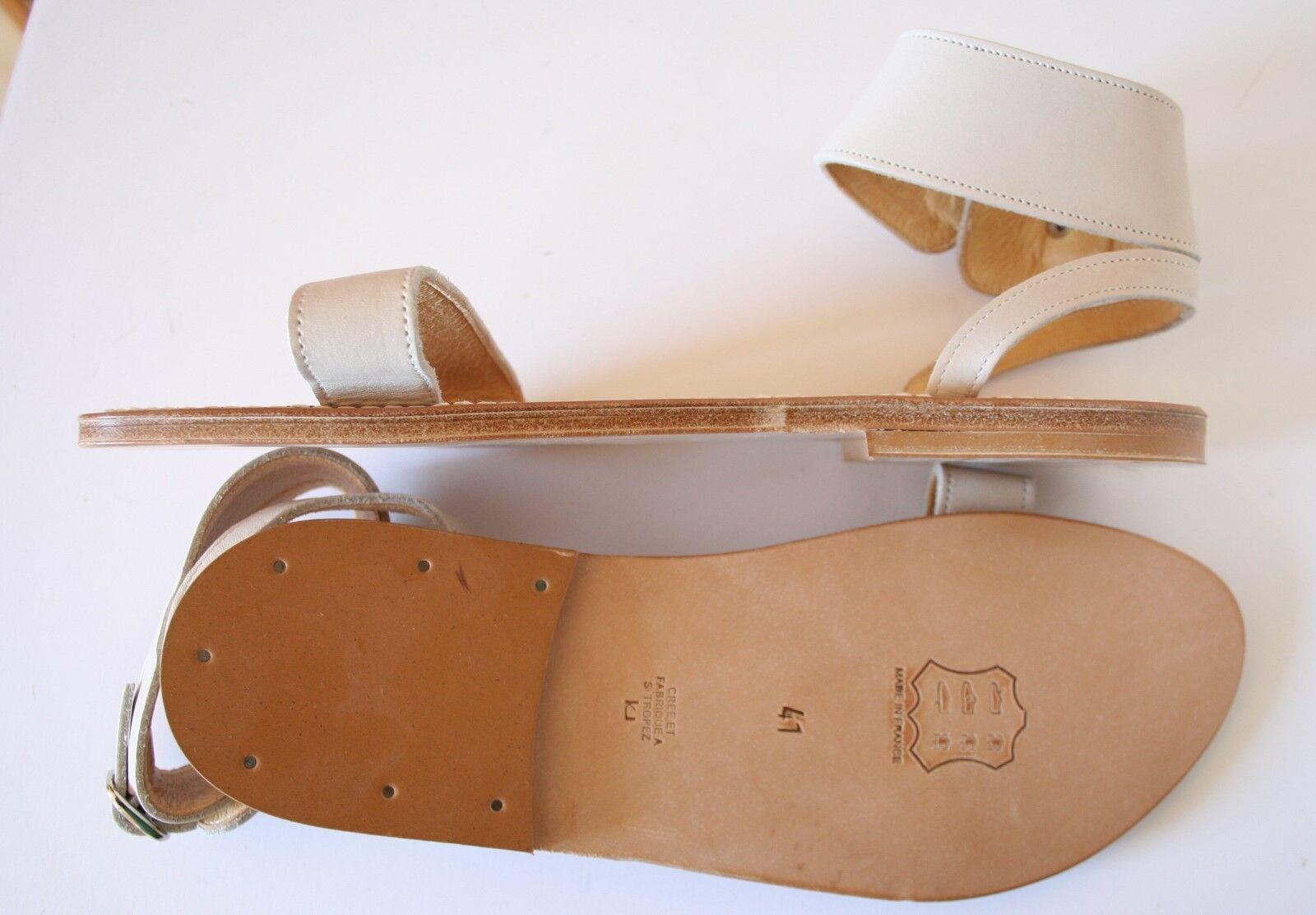 K. K. K. Jacques för J.Crew Saratoga läder Sandals 41.5 -11 Cream Ankle Cuff Strap  butikshantering