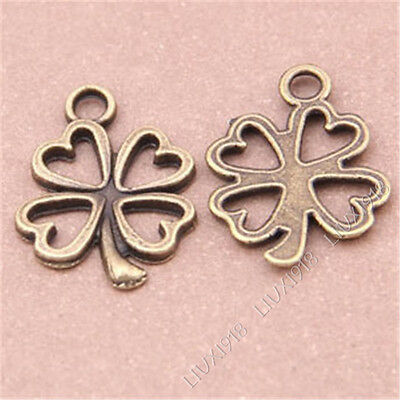30pc Antiqued Lucky Clover Pendant Charms Accessories Jewellery Making S264B