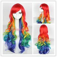 Harajuku 75cm long Rainbow Color Wig Curly Wave Cosplay Hair Wigs zy72 USA Ship