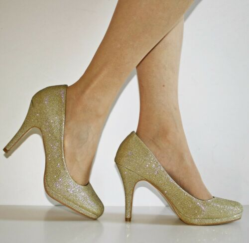 NEW Womens Party Bridal Evening Sparkly Glittery High Heel Court Shoes Size-9191