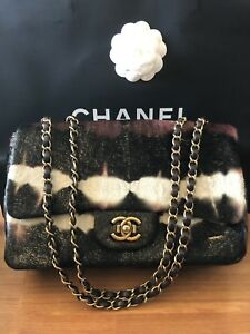 Image is loading Chanel-Matelasse-CC-Lapin-Brown-Calfskin-Fur-Quilted- f372f01a64a
